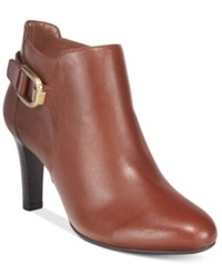 Bandolino Layita Zippered Booties Kona Tan Leather