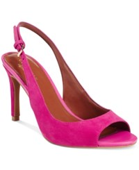 Cole Haan Juliana Open Toe Slingback Dress Pumps Women's Shoes Fushia Suede