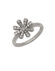 Lord And Taylor 14K White Gold Diamond Flower Ring Diamond White Gold