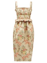 Brock Collection Floral Jacquard Ottoman Midi Dress Beige Multi
