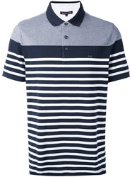 Michael Kors Striped Polo Shirt Men Cotton S Blue