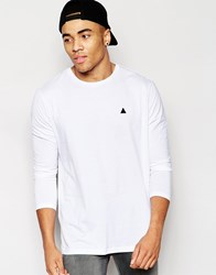 Asos Longline Long Sleeve T Shirt With Embroidery In White White