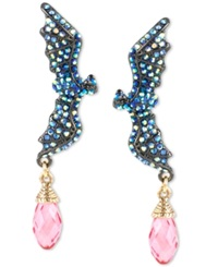 Betsey Johnson Two Tone Blue Pave And Pink Crystal Bat Drop Earrings