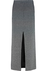 Missoni Swiss Dot Knitted Wool Blend Maxi Skirt Gray