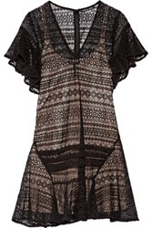 Marissa Webb Pleated Lace Dress Black