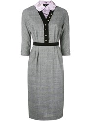 Olympia Le Tan Prince De Galles Marion Dress Women Wool 36 Grey