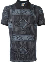 Carhartt Geometric Patterned Polo Shirt Black