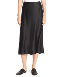 Vince Silk Satin Bias Cut Midi Length Slip Skirt Black