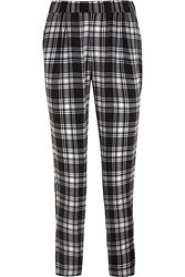Equipment Hadley Plaid Washed Silk Tapered Pants Black