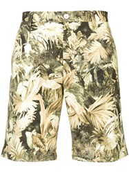 Etro Leaf Print Shorts Green