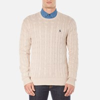 Polo Ralph Lauren Men's Long Sleeve Crew Neck Knitted Jumper Oatmeal Heather Beige