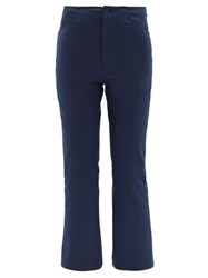 Connolly Mid Rise Cropped Kick Flare Cotton Trousers Navy
