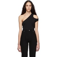 Telfar Black Cropped Asymmetric Tank Top