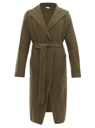 Connolly Hooded Longline Cashmere Cardigan Khaki