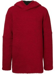 Strateas Carlucci Faux Shearling Hoodie Red
