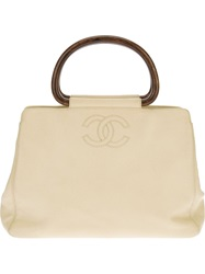 Chanel Vintage Leather Tote Nude And Neutrals