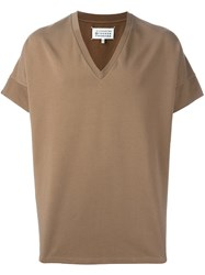 Maison Martin Margiela Boxy Fit V Neck T Shirt Brown