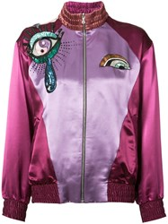 Marc Jacobs Embroidered Bomber Jacket Women Silk Rayon S Pink Purple