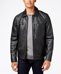 Kenneth Cole Men's Smooth Faux Leather Hipster Jacket Black