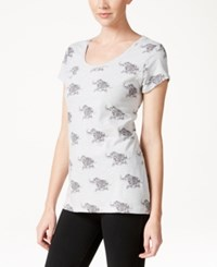 Styleandco. Style And Co. Elephant Print Scoop Neck T Shirt Only At Macy's Grey Combo