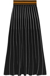 Roksanda Ilincic Asago Ribbed Striped Stretch Knit Midi Skirt Black