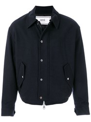Ami Alexandre Mattiussi Quilted Zipped Jacket Blue