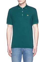 Isaia Logo Embroidery Cotton Pique Polo Shirt Green