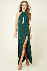 Forever 21 M Slit Halter Neck Maxi Dress