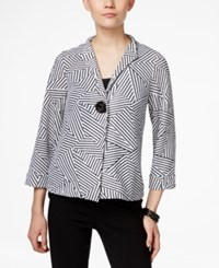 Jm Collection Petite Single Button Striped Jacket Only At Macy's Black White