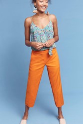 Anthropologie Linen Crop Flares Orange