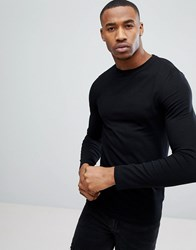 Asos Design Muscle Long Sleeve T Shirt With Crew Neck In Black