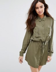 Jdy Drawstring Dress Dusty Olive Green