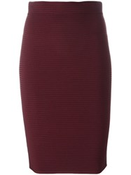 Alexander Wang T By Ribed Pencil Skirt Red
