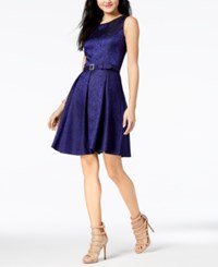 Nine West Belted Pleated A Line Dress Twilight Blue