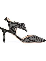 Nicholas Kirkwood Animal Print Sling Back Pumps Grey