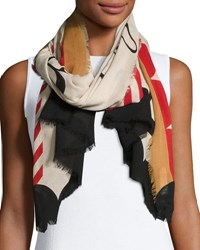 Burberry Lightweight Patterned Logo Scarf Stone White Gray