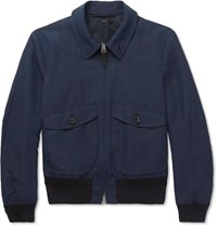 Tom Ford Linen Silk And Wool Blend Blouson Jacket Storm Blue