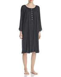 Eileen West Three Quarter Sleeve Knit Waltz Gown Black Ground White Dot
