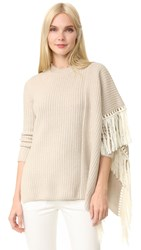 Edun Fringe Oversized Sweater Ecru