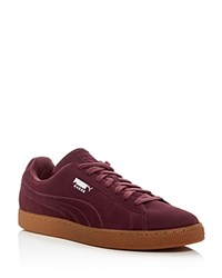 Puma Suede Classic Debossed Q4 Lace Up Sneakers Red Purple
