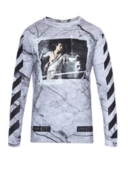 Off White Marble Print Long Sleeved T Shirt