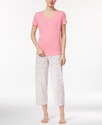 Charter Club V Neck Top And Printed Cropped Pants Mix It Pajama Set Only At Macy's Pretty Paisley