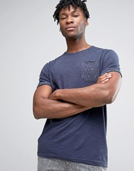 Bellfield T Shirt With Rolled Sleeves And Geometric Print Pocket Navy Green