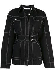 Proenza Schouler Pswl Belted Utility Cotton Jacket Black