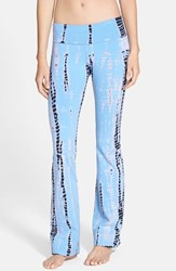 Women's Hard Tail Roll Waist Bootleg Flare Pants Light Blue Navy Tie Dye