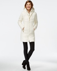 Vince Camuto Knit Trim Quilted Down Coat Winter White