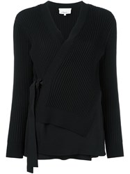 3.1 Phillip Lim Ribbed Wrap Cardigan Black