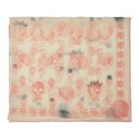 Alexander Mcqueen Off White And Pink Silk Scalloped Skull Scarf