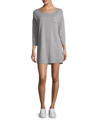 Atm Anthony Thomas Melillo Double Faced Jersey Destroyed Wash Dress Gray