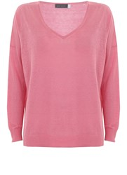 Mint Velvet Peony V Neck Side Split Knit Pink